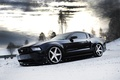 Picture snow, winter, wheels, black, black, Ford, clouds, snow, ford, drives, trees, mustang, Mustang, side view, ...