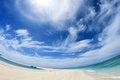 Picture panorama, water, Clouds, sand
