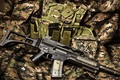 Picture equipment, automatic rifle, camouflage fabric