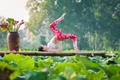Picture pose, yoga, gymnastics, girl, nature, legs, Asian