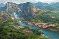Picture waterfall, painted landscape, art, hills