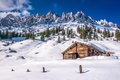 Picture slope, mountains, snow, winter, trees, house, Lassen Volcanic National Park, the sun, the sky, rocks, ...