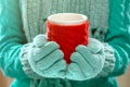 Picture winter, hands, mug, winter, mittens, cup, cocoa, drink, hands