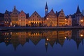 Picture night, lights, reflection, home, Belgium, Ghent