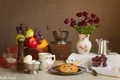 Picture apples, roses, eggs, bouquet, cookies, grapes, dishes, still life, coffee grinder