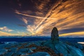 Picture the sky, Mountain Sunrice, stones, Norway