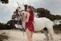 Picture sand, trees, model, horse, dress, photographer, white, brown hair, is, in red, nature, Costume, Anais ...