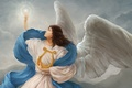 Picture Angel, light, harp, wings, symbol, clouds