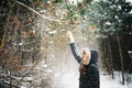 Picture winter, hood, snow, jacket, girl, branches, falls