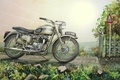 Picture road, figure, motorcycle, bike, painting, Triumph