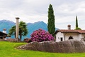 Picture palm trees, Park, mountains, rhododendron, trees, house, Bush, column, cypress, stones