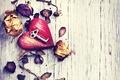 Picture heart, petals, key, rose