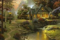 Picture painting, Stillwater Cottage, bench, painting, Thomas Kinkade, cottage, art, Thomas Kinkade, the evening, river, cottage, ...