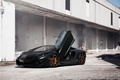 Picture black, the building, lamborghini, black, front view, aventador, lp700-4, Lamborghini, aventador, guillotine, door
