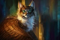 Picture fantasy, winged cat, by AlaxendrA