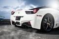 Picture Ferrari, 458 italia, white, ferrari, back, white, Italy, the sky, clouds