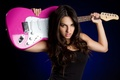 Picture Background, Girl, Electric Guittar, Music, Beauty, Rock, Brunette