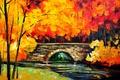 Picture autumn, leaves, trees, landscape, bridge, river, picture