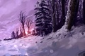 Picture winter, forest, snow, sunset, art