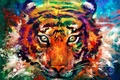 Picture eyes, look, tiger, animal, head, art