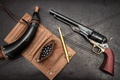 Picture background, trunk, revolver, 1860