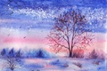 Picture winter, trees, the bushes, birds, lake, painted landscape, watercolor, grass