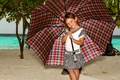 Picture rainy day in paradise, umbrella, Manfred Sket, beach, girl