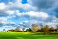Picture Nature, fall, trees, field, sky, autumn, clouds, scenery, vintage, home, trees, autumn, village, the sky, ...