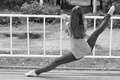 Picture black and white, twine, Park, gymnast, nature, barefoot, flexibility, Mike, jeans, girl, stretching, photo