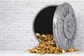Picture wall, money, gray, gold, reinforced door, wealth