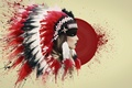 Picture feathers, blood, roach, Indian, art