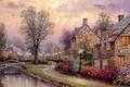 Picture bridge, street, river, lighting, figure, river, river, drawings, Thomas Kinkade, picture, bridge, light, painting, painting, ...
