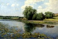 Picture picture, Ostroukhov, trees, water lilies, the bushes, the river in the afternoon, painting, water, reed, ...