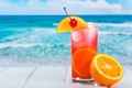 Picture background, ice, drink, citrus, cocktail, sea, orange, summer, cherry