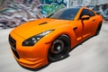 Picture speed, graffiti, Orange, GTR, blur, Nissan, the front, Tuning, R35