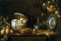 Picture picture, bottle, Thomas HEPES, Still life, basket, plates, dish
