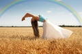 Picture rainbow, widescreen, HD wallpapers, Wallpaper, body, tree, action, leaves, wheat, girl, field, rye, full screen, ...