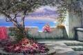 Picture Southern landscape, flowers, Crimea, sea, tree, Miliukov Alexander, shadow, summer, joy, The sun, sail