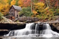 Picture autumn, forest, waterfall, mill, Babcock State Park, West Virginia