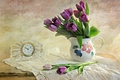 Picture vase, table, purple, wall, watch, tablecloth, tulips