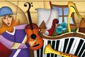 Picture music, color, figures, composition, instruments