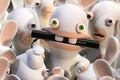 Picture blue, raving rabbids, rabbits, Kinect, green, eyes, nibbles