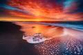 Picture Sky, Fire, Beach, Sun, Water, Sunset, Iceland, Ice, Sea