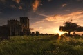 Picture the sky, grass, the sun, clouds, sunset, castle, tree, lawn, England, cemetery, tombstones, Wallpaper from ...