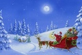 Picture sleigh, Santa Claus, gifts, snow, tree, winter, Christmas, figure