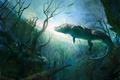 Picture crocodile, underwater world, art, pond, trees, alligator