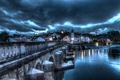 Picture the sky, clouds, clouds, bridge, lights, river, HDR, home, the evening, lights, Portugal, Santarem