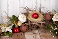 Picture balls, New Year, table, branch, Christmas, toys, roses, pine, Board, socket, Christmas, the scenery