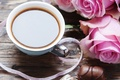 Picture coffee, chocolate, roses, tape, sweet