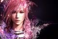 Picture Portrait, pink hair, Lightning Farron, Final Fantasy 13, black background, face